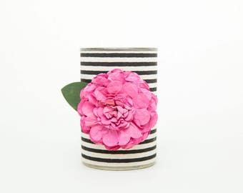 Magnetic Pen // Pencil Holder- Black and White Stripes with Dark Pink Flower