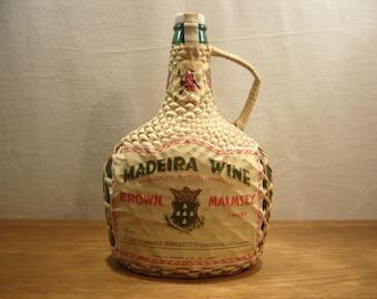 Vintage 1970s wicker wrapped bottle, empty bottle of Madeira, empty bottle of Malmsey