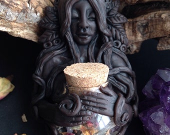 Herbal Apothecary Medicine Woman Pendant - Herbal Magick - Goddess Necklace - Hand Sculpted Clay Goddess with Corked Glass Vial - Pagan