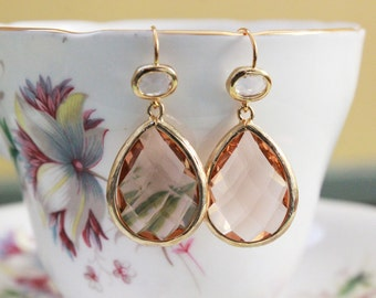 Earrings - Light Peach • Crystal