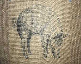 Pig Burlap Picture