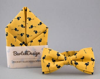 Mustard Matching Set Bow Tie Pocket Square Mustard Bow Tie Mustard Pocket Square Flamingo Bow Tie for Men Mustard Handkerchief Mens Bow Tie