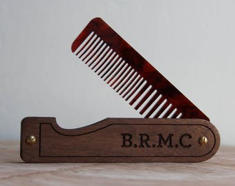 Hair Comb - Personalized Folding Pocket Comb for Men or Women - Walnut and Tortoiseshell - Made in Texas