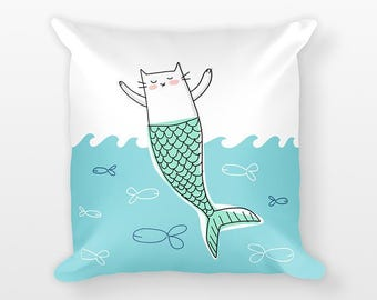 cat mermaid pillow cat pillow aqua home decor mermaid decor aqua decor