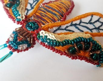 "Brooch-moth ""Mexican""-Textile embroidery brooch-butterfly-jewelry-Clothing Accessories-Fabric Brooch-Handmade pins-for Her-Present for woman"