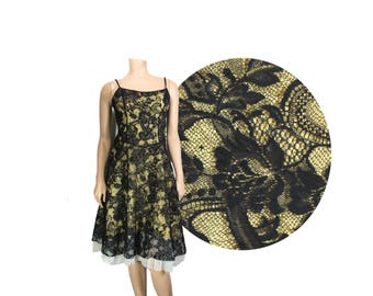 Small Black & Gold Lace Sleeveless 90's Dress // Black Lace Dress // D88
