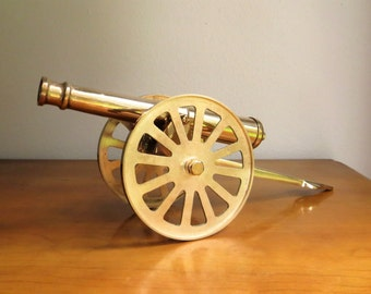 Vintage Brass Cannon, Gold Cannon Figurine, Civil War, World War I, World War II