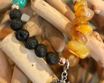 Amber stone,lava & turquoise glass bead bracelet