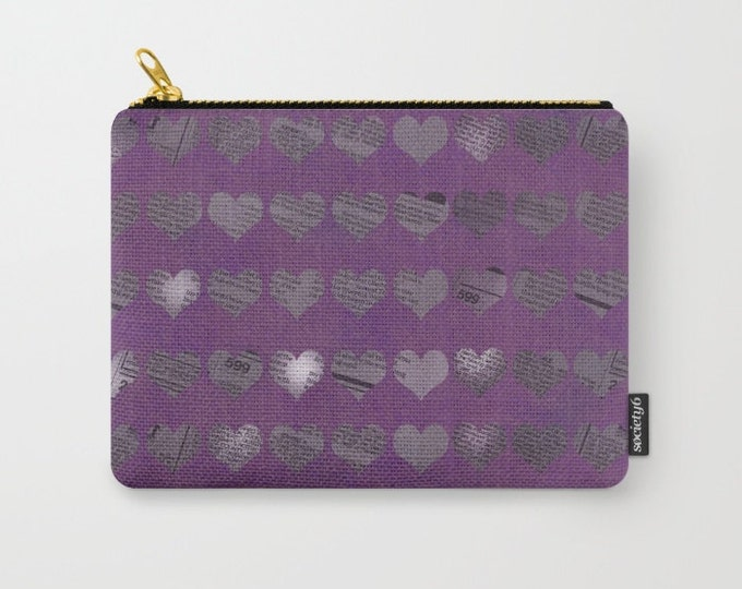Purple Newspaper Hearts Carry All Pouch - Make-up Bag- Pouch- Toiletry Bag - Change Purse - Organizing Bag - Made to Order