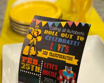 Bumble Bee Transformers Birthday Invitation, AutoBots Party Invite, Transformers Birthday Party Invite, Autobot