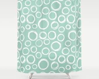 Mint Green Shower Curtain Aqua Blue Shower Curtain Bath