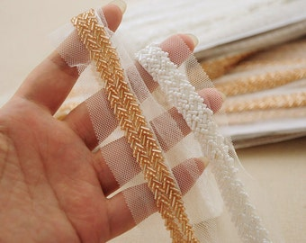 gold Bead trim, heavy bead lace trim,  bead trim