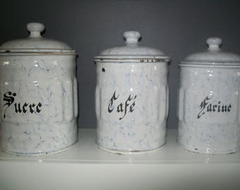 Vintage French Enamel Kitchen Canisters / Blue and White Marbled Graniteware / Complete set of Six