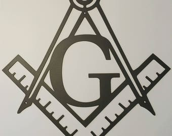 Masonic Square & Compass Metal Wall Art