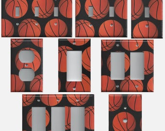 Basketball Sports Theme Kids Room Light Switch Covers and Wall Outlet Covers Home Decor Accents Basketballs Light Switch Plates