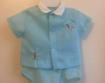VTG Baby Boy Outfit Blue Teddy Bears Plastic Pants Sz 6M