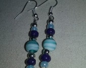 Artisan Handmade Blue Mix Multi Glass Bead Dangle Style Earrings Jewelry Gift Fashion Accessory Unique HOLIDAY SALE