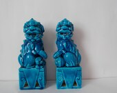 Vintage Foo Dog Statues Pair of Blue Mid Century Chinoiserie Figurines Made in Japan As-Is