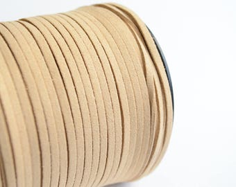 Natural Color Suede cord, Faux Suede Leather, Jewelry Cord, 16 ft