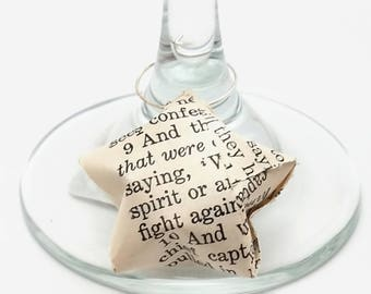 Wine Glass Charms - Antique Bible Stars - Christian Wine Glass Charms - Paper Stars - FREE SHIPPING - Christian Gift Toppers - Bible Decor