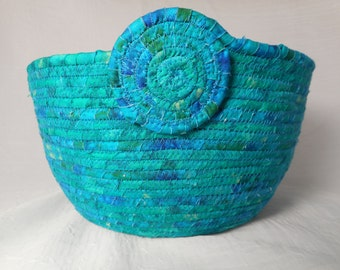 Handmade coiled fabric basket / rope basket