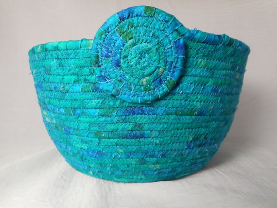 Handmade Beaded Basket : Handmade coiled fabric basket rope