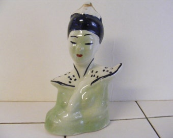 Vintage 40s ASIAN WOMAN Geisha BUST hand painted Statuette Statue bust Figurine China Porcelain pottery Understated Beauty!! Minimalist