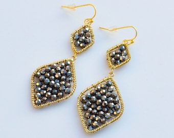 """Hematite Faceted Gemstone Wire Wrap Gold Filled Drop/Dangle Earrings. 3"""" from Top to Bottom."""