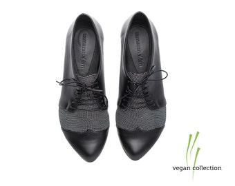 handmade Vegan  black and black dots oxford shoes  by Tamar Shalem on etsy