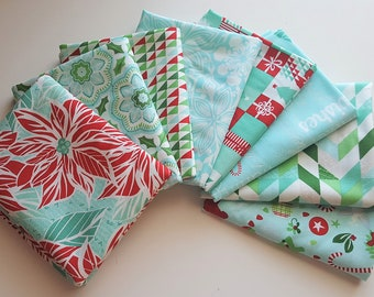 Jingle Ice (blue) Fat Quarter bundle - Kate Spain - Moda (8 prints, 2 yards total)