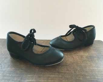 Girls jazz shoes Black PU Stage Jazz Tap Dance Shoes Vintage Katz Dancewear
