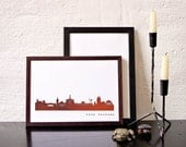 KASSEL Skyline REAL Copper foil print Poster - Copper printed premium Ecological Paper - Cityscape Art Print handmade in Berlin by 44spaces