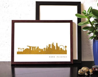 SINGAPORE gold foil Poster, SINGAPORE City Skyline, modern Singaporecityscape art work, fine gold Singaporeprint, love Singapore, 44spaces