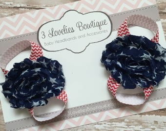 4th of July Baby Barefoot Sandals/Baby Barefoot Sandal/Barefoot Sandals/Baby Shoes/Baby Sandals/Newborn Sandals/Headband/Baby