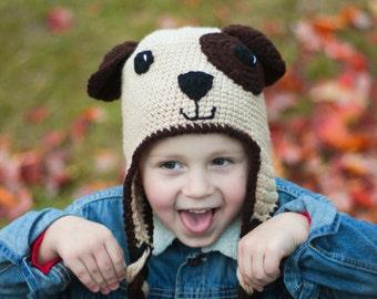 Puppy Hat/ Dog Hat/ Puppy Dog Hat/ Boys winter Hat/ Boys Hat/ Crocheted Hat/ Puppy Dog/ Dog lover gift/