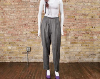 pinstripe pleated pants / grey pleated trouser / 90s pleated pant / high waisted / menswear inspired / peg pants / high waist trousers
