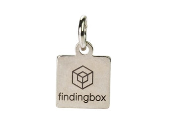 Antique Silver Square Jewelry Tag, Laser Engraved Logo on Square Tags Sequins, 9x11mm, 19 Gauge, Pkg of 100 PCS, F14P.AS11.P100.C