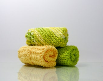 Knit Dishcloth-Set 3 Kitchen Cleaning Towels-Hostess Gift-Eco friendly Cotton Gift-Handmade Gift-Knitted Dish cloth- Gift Grandma