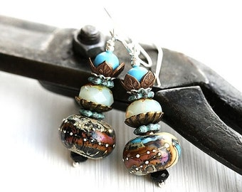 50%off SALE Boho Earrings/ Dangle Lampwork Glass Earrings in Rustic Turquoise, Brown, Purple/ Boho chick Earrings on sterling silver, by May