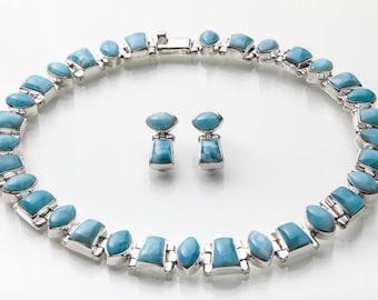 Larimar Statement Necklace and Post Earrings, Kayla, Larimar Jewelry Set