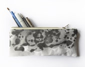 Long Cotton Twill Pencil Case, White with Black Rorschach Print with Black Cotton Lining and Silver Metal Zipper, Pencil Cover, Make Up Bag