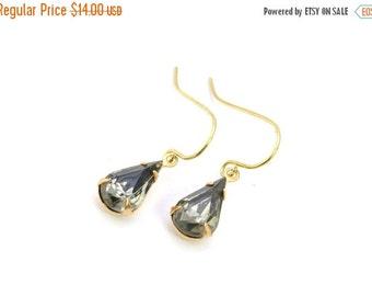 20% OFF Sale Black Diamond Earrings, Vintage Pear Rhinestone Earrings, Bridesmaids Gift