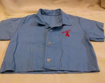 Vintage Dark Blue Diaper Shirt with Red Sailor, S