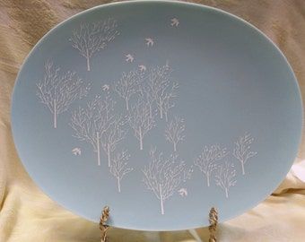 1/2 OFF!!! Vintage Lucent Melmac Turquoise Platter with White Trees and Birds, T