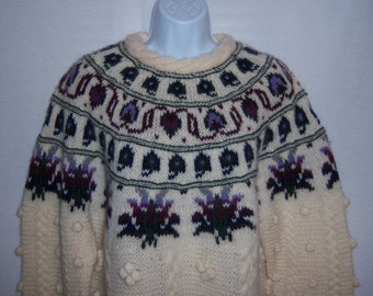 Vintage Woolrich Ivory Off White Purple Green Fair Isle Popcorn Pattern Wool Womens Sweater Large