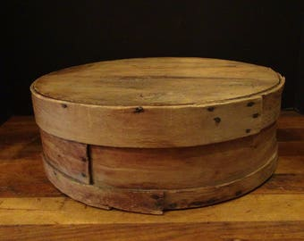 "Antique Wood Cheese Box, 14 3/4"", Farmhouse Decor, Rustic Cheese Box"