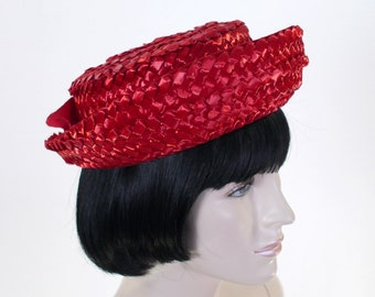 Vintage Women's Red Straw Hat - Bright Red - Union Label - Red Grosgrain Bow - 60's Red Hat - Breton Hat