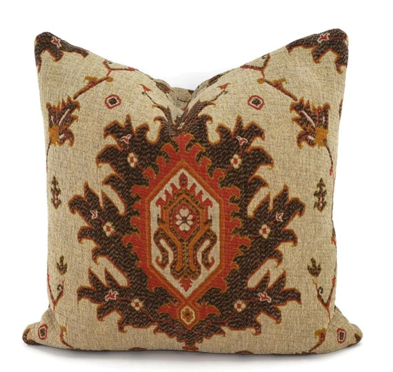 Throw Pillow Cover Brown Rust Red & Tan Chenille Medallion