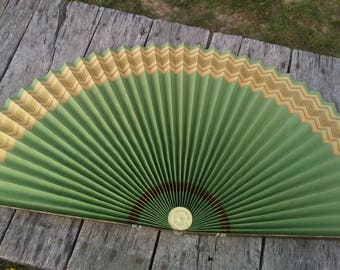 Vintage Folding Fan LARGE Folding Paper Fan Gold and White Side AND Green with Gold Side Vintage Home Decor Fireplace and Background Fan