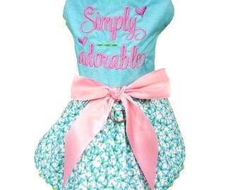 Dog Dress, Dog Clothing, Dog Wedding Dress, Pet Clothing, Dog Attire, Pet Dress- Simply Adorable Embroidered Dress